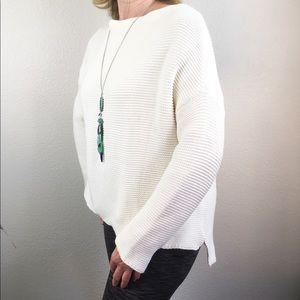 Zara Knit Boat Neck Oversized Cream Sweater